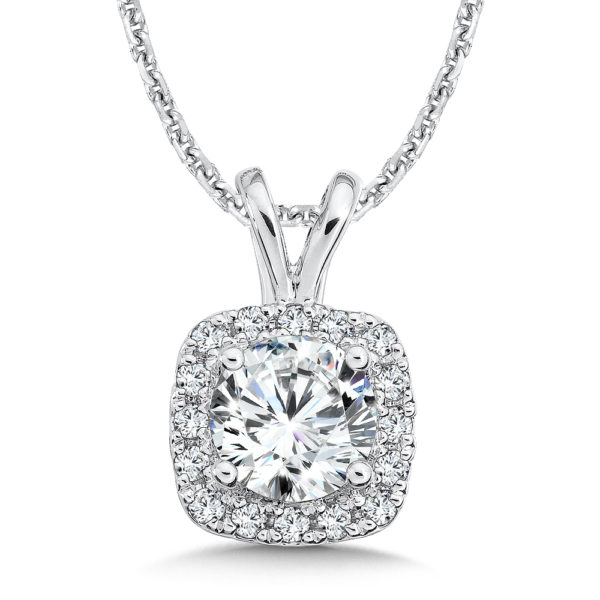Caro74 Diamond Cushion Halo Split Bale Pendant #CFP416