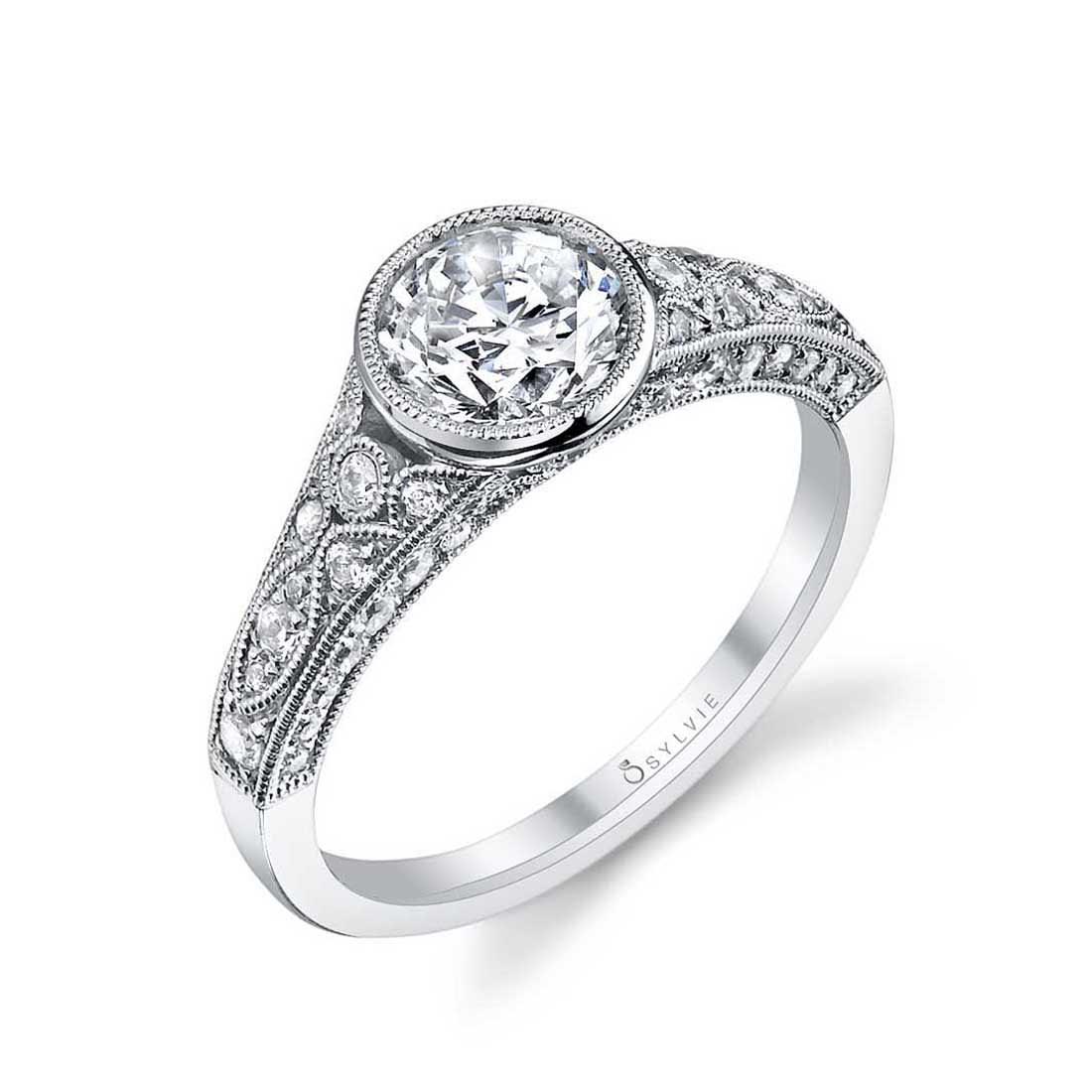 Barbara Vintage Bezel Set Diamond Engagement Ring Diamond Brokers Jewelry Of Los Altos
